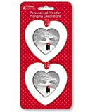 2 x Personalised Christmas Tree Decorations White Wooden Hearts Photo Frames by Home Collection