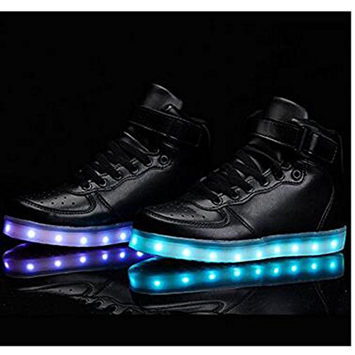 KUshopfast Kinder leuchten Schuhe Jungen und Mädchen High Top LED Energy Lights Turnschuhe (perfektes Geschenk für Kinder und Jugendliche) Schwarz