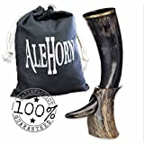 """AleHorn – The Original Handcrafted Authentic Viking Drinking Horn - 12"""" Natural - for Beer, Mead, Ale – Medieval Inspired – Food Safe Vessel - Curved Style with Stand"""