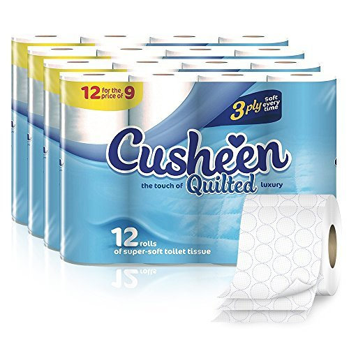 Cusheen Quilted Luxury 3 Ply Hygiene Toilet Tissue Paper White - 60 Rolls