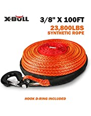 """X-BULL 3/8"""" x 100ft 10mm*30m SK75 Dyneema Synthetic Towing Winch Cable 23000LBS/10432KG Load Capacity With Free Hook (Orange)"""