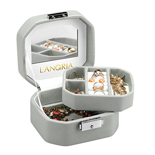 Embossed Organizer - LANGRIA Embossed Faux Leather Jewelry Box, Octagonal Shape with Built-in Mirror, Lockable, Compact Size, Makeup and Accessories Storage Organizer Case,Grey