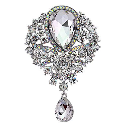 (Fuerton Crystal Rhinestone Glass Brooch Pins Wedding Jewelry Accessory (Silver) )