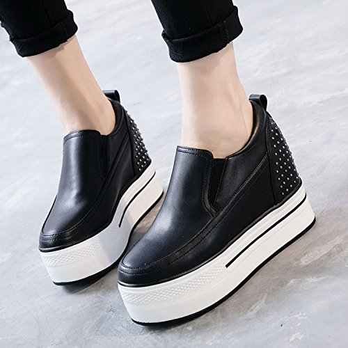 HGTYU The Spring And Summer Thick Sponge Cake Shoes Leisure And Versatile With The Rising Slope Rivets 10Cm High-Heeled Single Shoes Women'S Shoes Black svcg2e