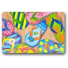 Roman's Doormat Personalize Decor Carpets ? Door Mats Funny Flip Flops Doormats Top Fabric & Rubber Indoor Outdoor s Area Rugs Entryway Mats Non-slip Rubber Backing 23.6in by 15.7 in