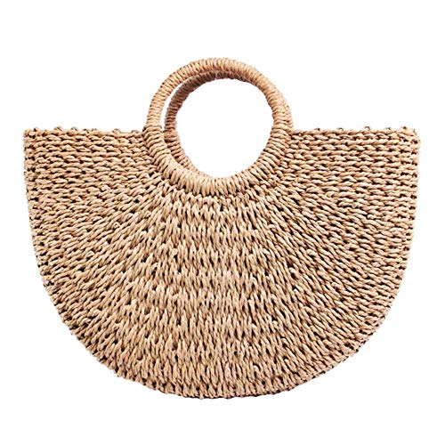 (Women\'s Straw Bag Chic Handbag Woven Summer Beach Tote Bags with Round Handle Ring (Brown))