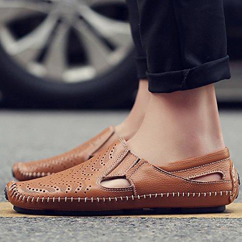 Xing Lin Sandali Di Cuoio Gli Uomini Di Sandali Estivi Scarpe Fagioli Di Soia Fresco Scarpe Uomo Scarpe Casual Uomo Traspirante-Foro Scarpe ,45, Marrone