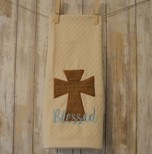 Blessed Cross Appliqued Embroidered Kitchen Towel