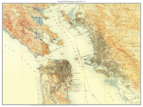 San Francisco & East Bay 1915 Custom USGS Old Topo Map - The City - Marin County - East Bay - Daly City Composite Print California (Oakland Map)