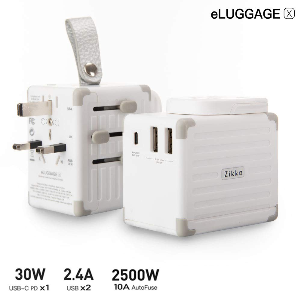 Zikko eLUGGAGE X Travel Adapter, USB-C PD 30W International Travel Adapter, Flame Retardant Universal Travel Adapter Grounded,Self Resetting Fuse All in One Universal Power Adapter for UK, EU, AU, US