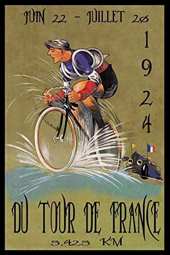 Motorcycle Racing Vintage French Ad Giclee Canvas Print 20x30