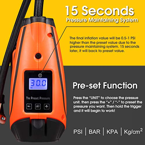 REXBETI Tire Inflator, Portable 12V Cordless Air Compressor for Tires, with Rechargeable Lithium-ion Battery and 12V Car Power Adapter, Easy to Read Digital Pressure Gauge, LED Lighting, 150PSI by REXBETI (Image #3)
