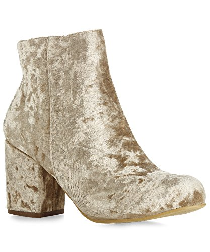 RF Room Of Fahion Luxe-22 Ankle Bootie (Champagne Velvet Size 8.5)