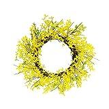 Puleo International 24 in. Artificial Yellow Jasmine Wreath, Green