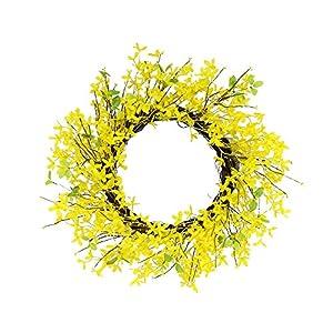 Puleo International 24 in. Artificial Yellow Jasmine Wreath, Green 1