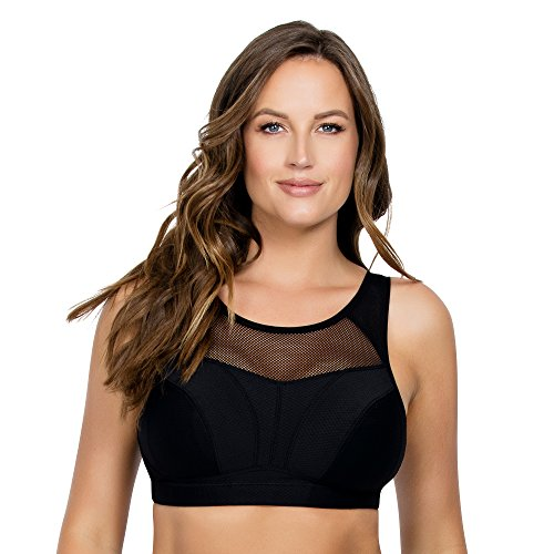 PARFAIT Women's Wireless Unlined Sports Bra 30G UK Black, Active P5542