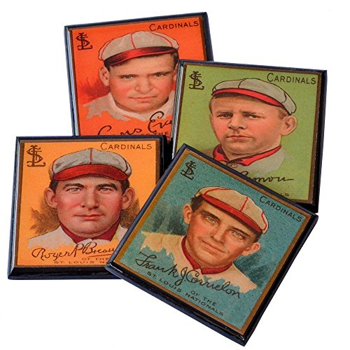 - St Louis Cardinals Vintage Baseball Card Drink Coaster Sports Decor Set of Four