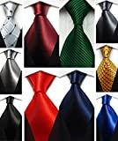 Wehug Lot 10 PCS Classic Men's tie 100% Silk Tie Woven Jacquard Neckties Solid Ties for men style004