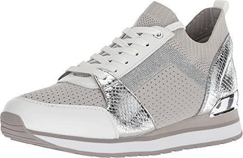 Michael Kors Woman's Billie Knit Trainer Fabric Aluminum (Fabric-and-Leather, 8.5)