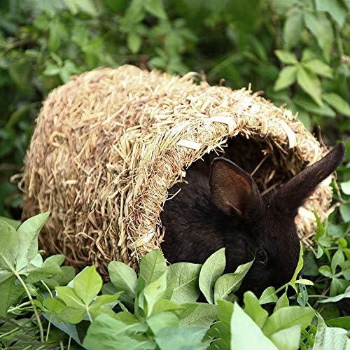 chinchilla y peque/ños animales Fransande t/únel de casa de hierba para la colocaci/ón o el sue/ño Hucha tejida de conejo ideal para casas de conejos