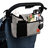 Homlynn Stroller Organizer, 11L Volume w/ 2 Deep Cup Holders Extra-Large Storage Space for Phones, Wallets, Diapers, Toys, Baby Accessories-Fit All Stroller Models(Grey)