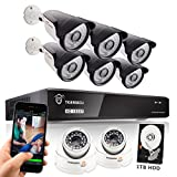 TIGERSECU Full HD 1080P 8-Channel Video Security Camera DVR System, 1TB Hard Drive - Six 2.0mp Outdoor and Two Indoor Cameras, 65ft Night Vision