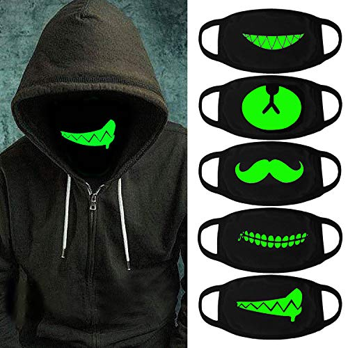 Luminous Mouth Mask,Aniwon 5 Packs Antidust Face Mask Party Cosplay Mask Cotton Masks Glow in The Dark Mouth Mask ()