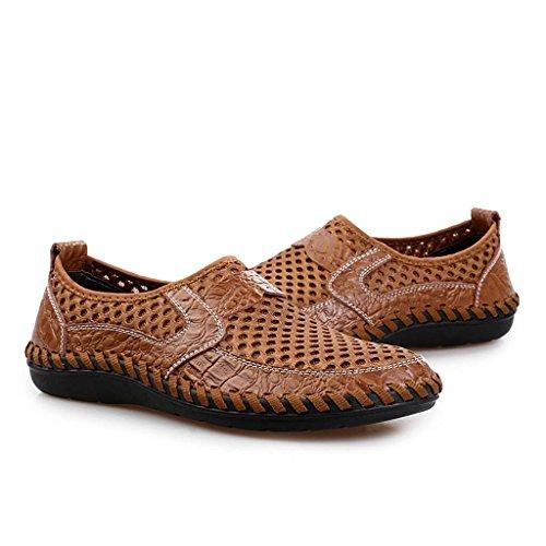 ZXCV Zapatos al aire libre Zapatos netos transpirables de tela de malla de cuero cómodos zapatos de hombres transpirables de la cara de malla Marrón