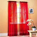 "SET OF 2, 84"" LONG RED SHEER VOILE CURTAINS / TAILORED CURTAIN PANELS, 60"" WIDE by Editex"