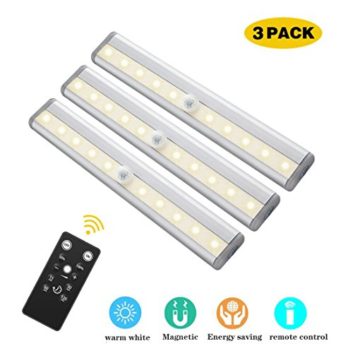 GOSTAR Under Cabinet Lighting, 10leds Dimmable Remote Control Night Light, Operates on 4 AAA Batteries(Not in Included) Magnetic Tape Lights for Closet Cabinet, 3 Pack (Warm White(3000K))