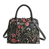 Black Garden Flower Tapestry Top Handle Handbag with Detachable Strap to Convert to Shoulder Bag by Signare with Sunflower Poppy Dragonfly Butterfly (CONV-MGDBK)