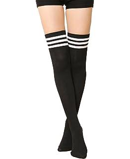 CHRISTYLE mujer Raya Escuela de Cosplay casual uniforme sobre la rodilla medias hasta el muslo calcetines