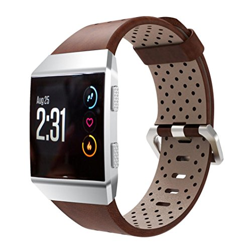: Accessories Sale Brown Fashion - For Fitbit Ionic Replacement Perforated Genuine Leather Band Strap Ventilate Soft Accessory Sport Bracelet Watchband (Brown)