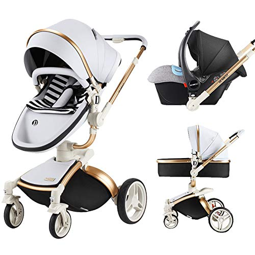 Baby Stroller 3 in 1 with Separate carrycot Gold Frame 360 Degrees Rotation High Baby Carriage Landscape Stroller for Newborn ({Type=String, Value=Silver}) ()