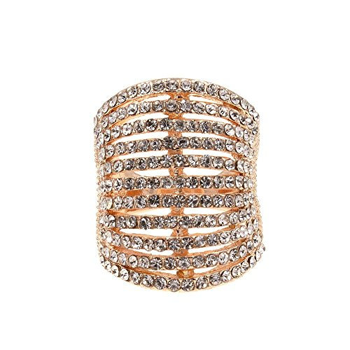 Lavencious 11 Rows Ring Fashion Crystal Cocktail Wedding Party Jewelry for Women (Rose Gold, 8)
