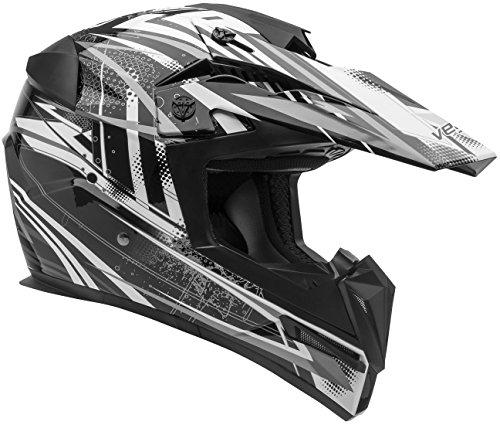 Vega Helmets MIGHTY X Kids Youth Dirt Bike Helmet – Motocross Full Face Helmet for Off-Road ATV MX Enduro Quad Sport, 5 Year Warranty  (Black Blitz - Helmet Motorbike Kids