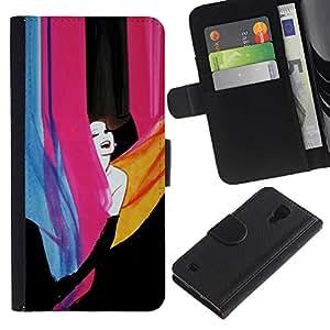 Be Good Phone Accessory // Caso del tirón Billetera de Cuero Titular de la tarjeta Carcasa Funda de Protección para Samsung Galaxy S4 IV I9500 // happy girl