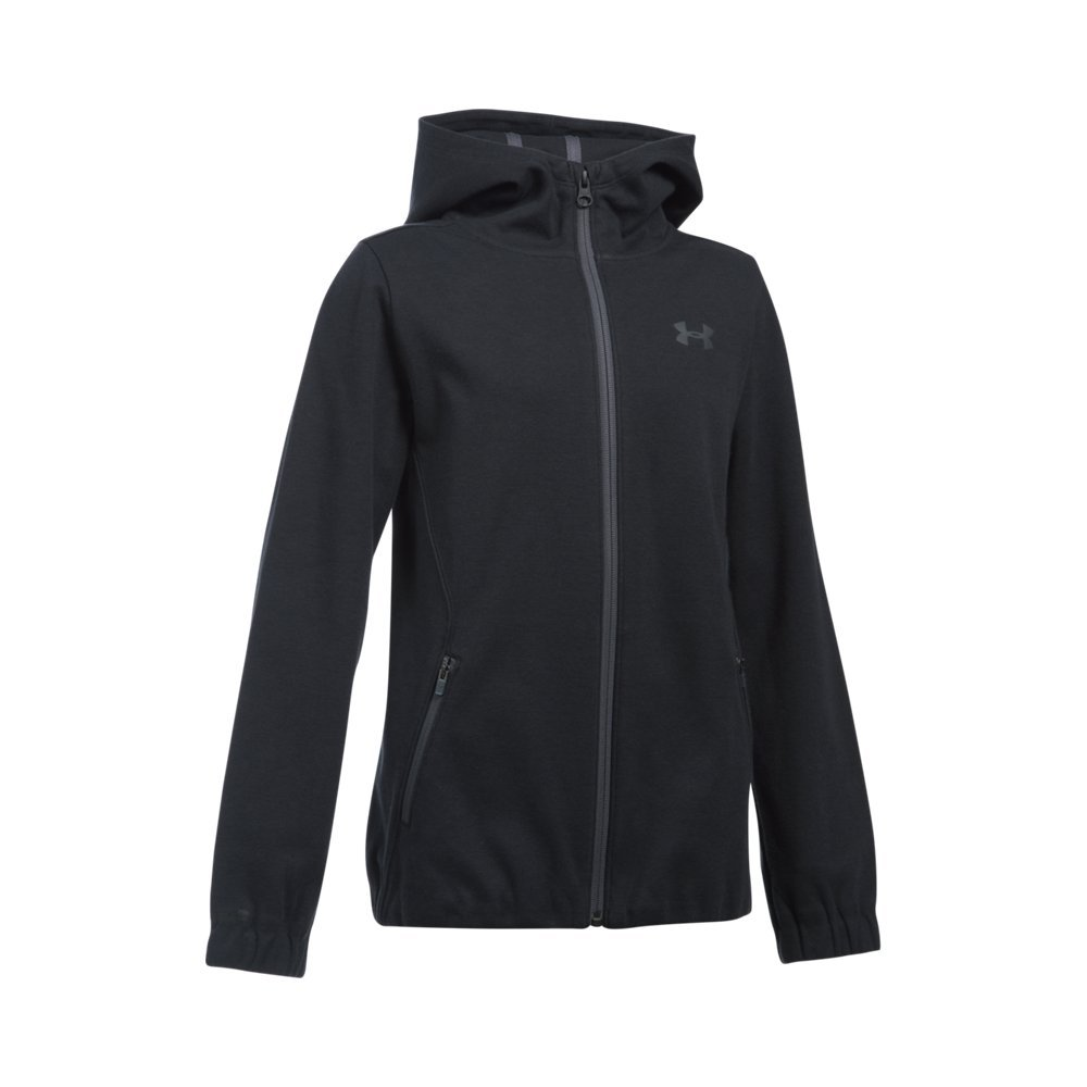 Under Armour Girls' Spring Swacket, Black /Rhino Gray, Youth Small by Under Armour