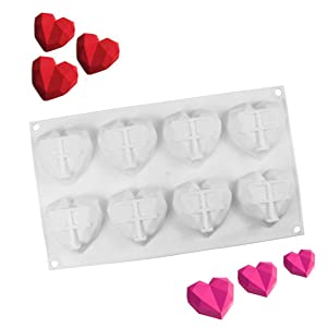 Silicone Heart Diamond Shaped Cake Mold Tray for Baking Chocolate Fondant Wedding Engagement Valentines Day (8 cavities Diamond Heart)