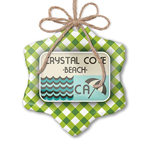 NEONBLOND Christmas Ornament US Beaches Vacation Crystal Cove Beach Green Plaid