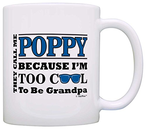 Father's Day Gift for Poppy Too Cool to Be a Grandpa Sunglasses Gift Coffee Mug Tea Cup White
