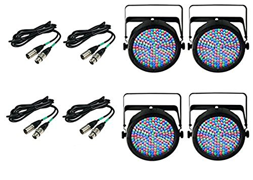 4) Chauvet DJ SlimPar 64 LED Slim Par Can Pro RGB Lighting Effects w/ DMX Cables ()