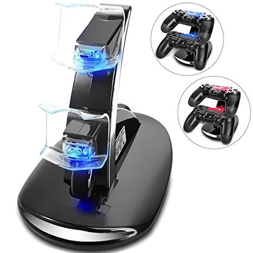 PS4 Controller Charger, Dual USB Charging Docking Station Stand for Playstation 4/ PS4 Pro/ PS4 Slim Controller with LED Light Indicator, can Charge to Two Controllers Simultaneously