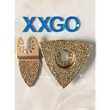 XXGO 2pcs Mixed Carbide Grit Grout Rasp Oscillating Multitool Saw Blades Fit Fein Multi Master, Fein FMM 250 ,Bosch ,Dremel ,Chicago ,Ferm,Pro-Line,Dewalt,Makita,AEG and More