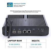 HYSTOU FMP05B Intel Core I7-5550U, Gaming Mini Pc, Mini Desktop Computer,Finless Mini Box PC,Power Interuption Recovery,Support Dual Display,Windows 10 (64 bit) (8GB RAM 128GB SSD)