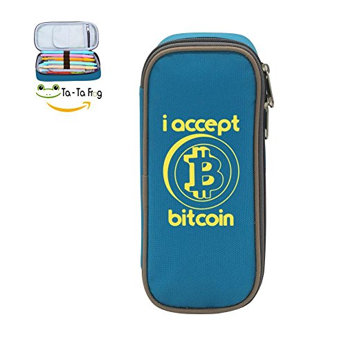 Mybox I Accept Bitcoin Cube Pen Case Pencil Box Soft Canvas Student Stationery Office (53t Ring)