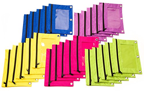 Colored Zipper Binder (3-Ring Binder Zippered Pencil Pouches (Case of 25) with Clear Window, Bright Green, Yellow, Blue, Pink, Purple)