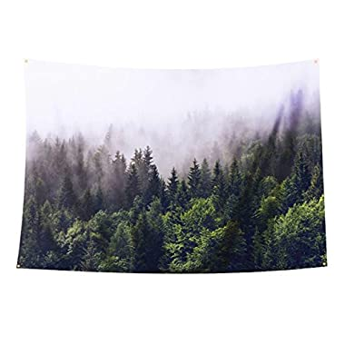 Tapestry Forest Wall Hanging Misty Forest Tapestry Starry Tapestry Forest Tree Tapestry Bedspread Throw Blanket Home Room Wall Decor