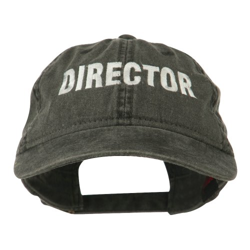 E4hats Director Embroidered Washed Cotton Cap - Black OSFM
