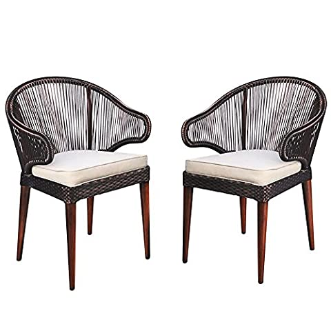 Outdoor Wicker Dining chairs Set of 2, Anti-rust Aluminum Cafe Bistro Set, Campact Dining Side Chair For Living Room, Long Time UV - Classic Spring Club Chair Frame
